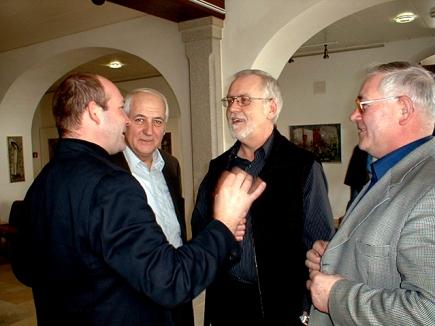 Heigl Fritz (Leiter), Heigl Franz und Fritz sen. mit dem Komponisten Freek Mestrini